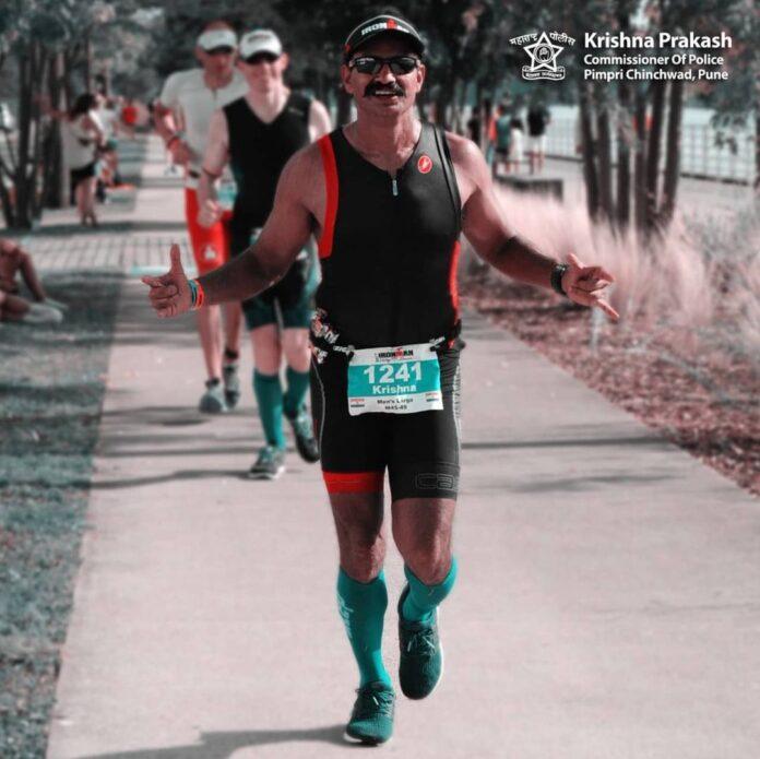 Ironman triathlon race winner Police Commissioner Krishna Prakash